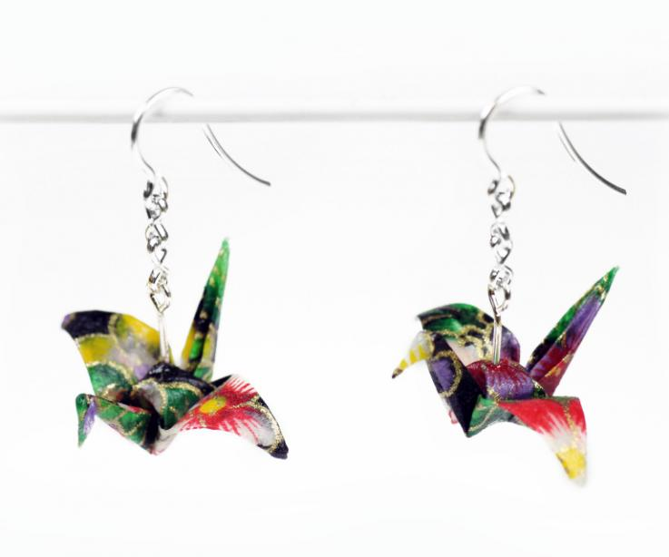 Craft crane earrings, symbol of origami, front view