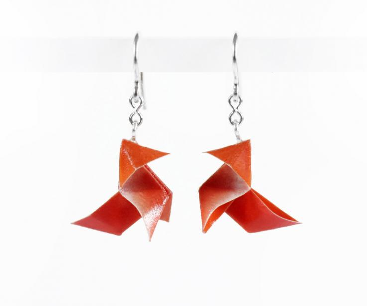 Origami jewellery, origami bird earrings and sterling silver