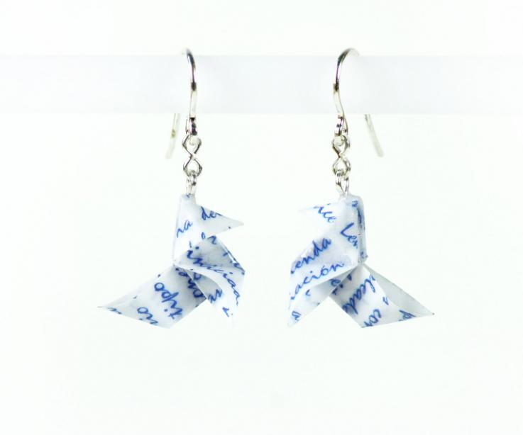 Paper origami bird earrings with customizable letters for gift