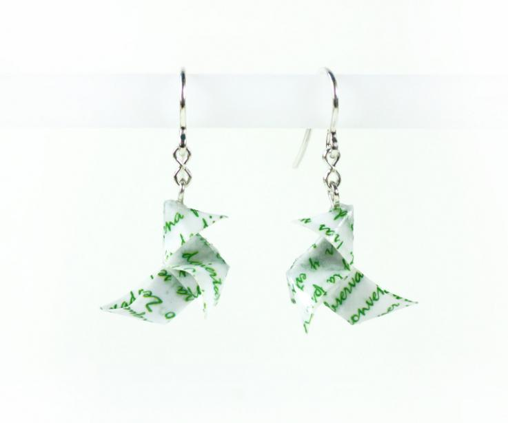 Origami bird earrings for woman handmade of paper with letters