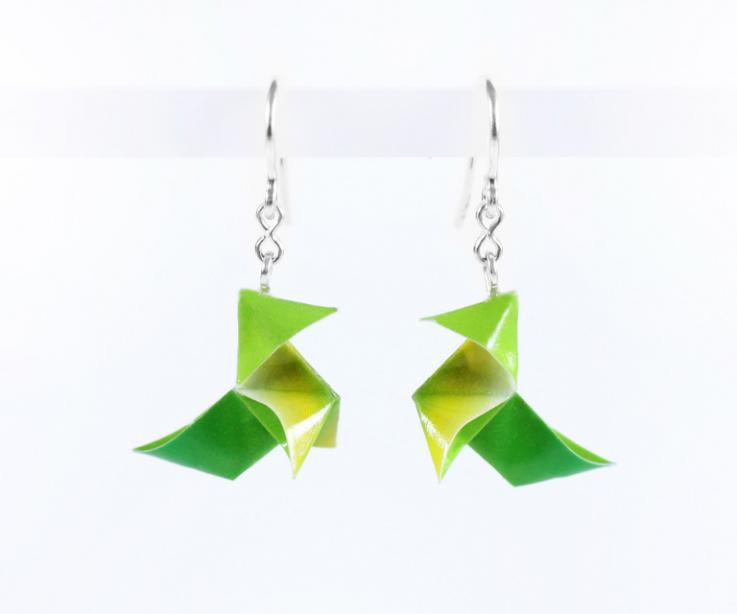 Original silver earrings and paper origami bird