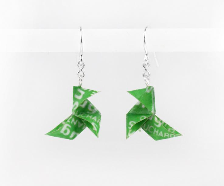 Sugus paper origami bird earrings, crafts, front view