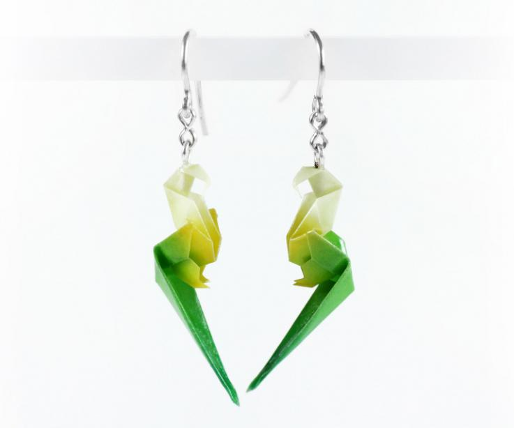 Handmade parrot paper and sterling silver earrings