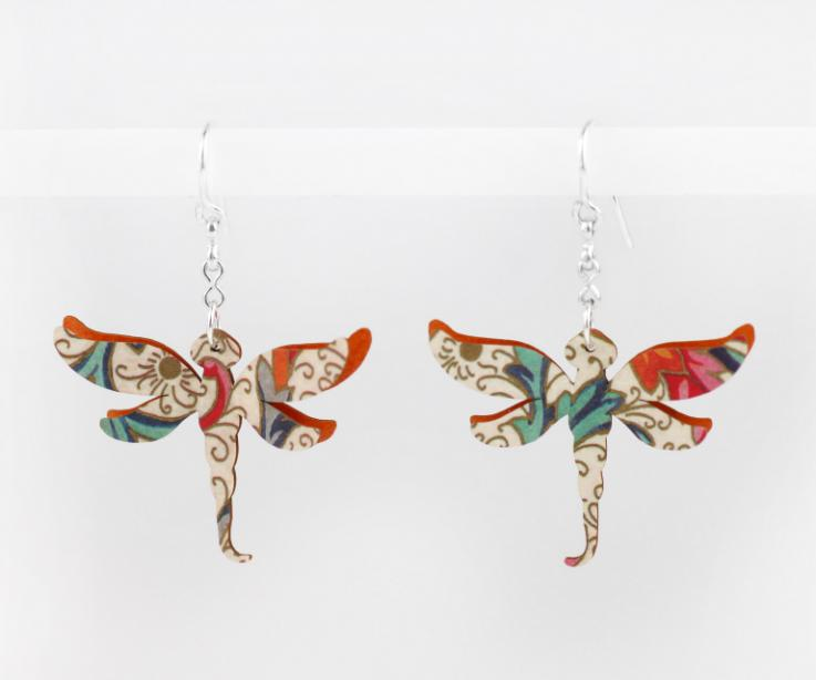 Dragonfly earrings with organic and natural drawings, front view