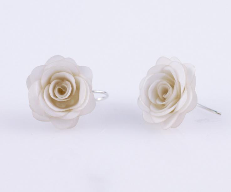 White earrings with rose handcrafted on paper