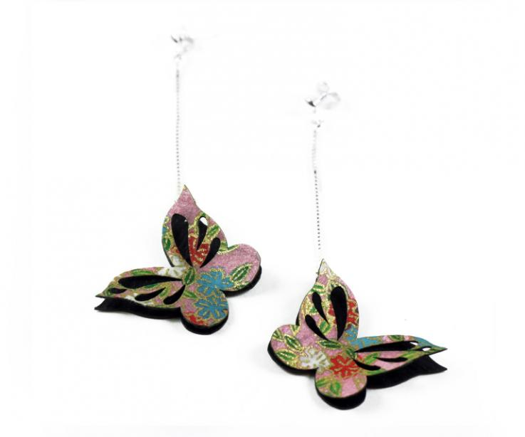 Oriental style earrings with Japanese paper butterfly