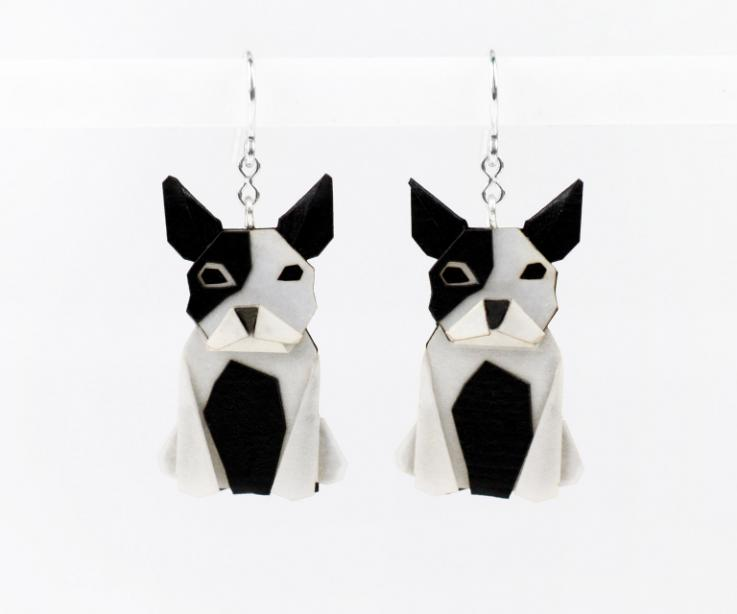 Black and white dog earrings in paper and sterling silver