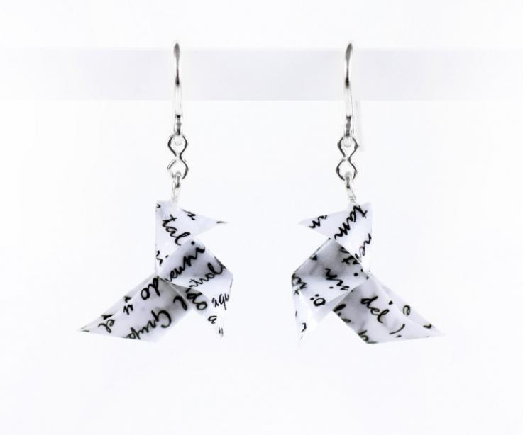 Origami bird earrings with cheat sheet paper and silver