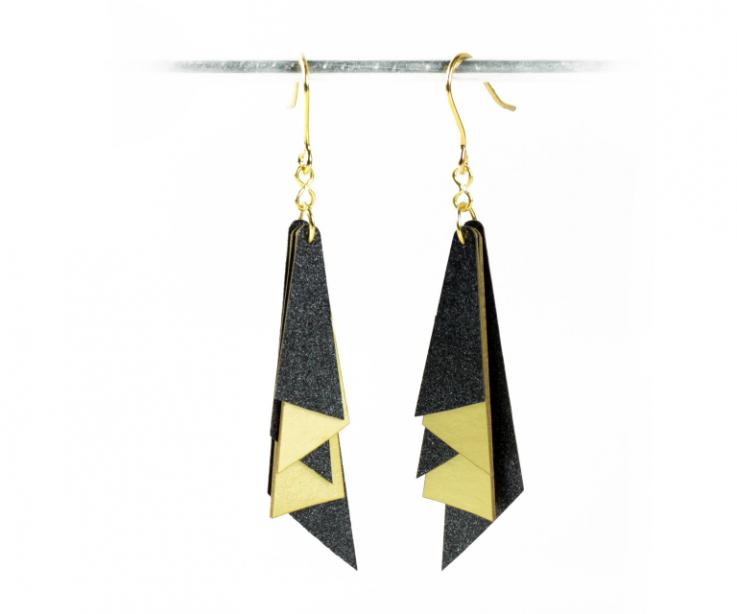 Metallic and gilded paper. Low cost designer jewellery. Geometric shapes