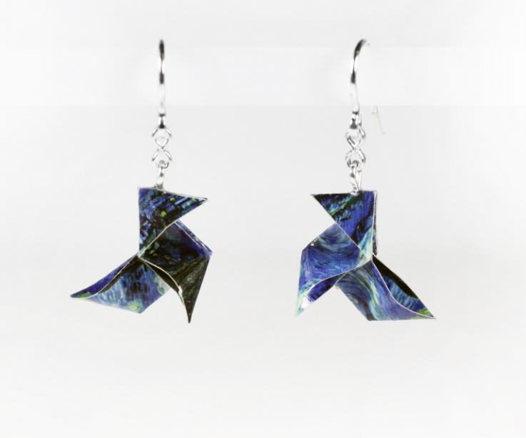 Earrings paper origami bird treated and mounted on silver. The starry night of Van Gogh