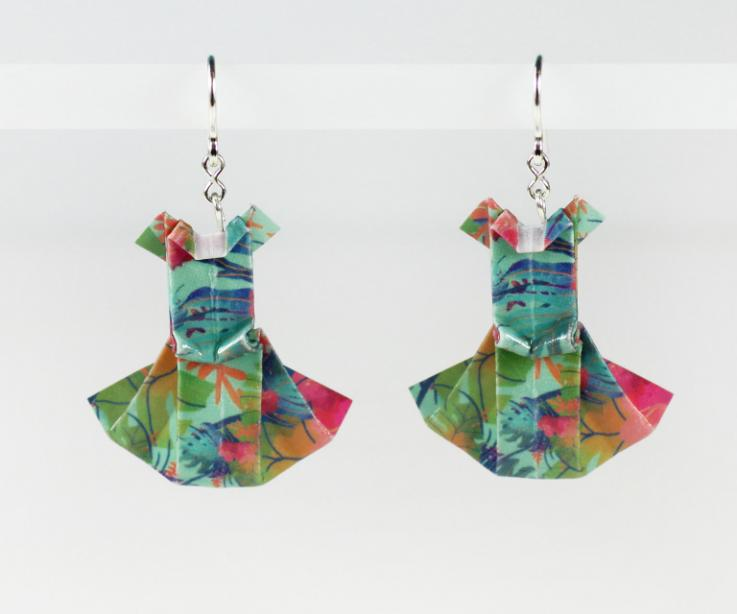 Dress earrings printed with organic leaves, paper and silver