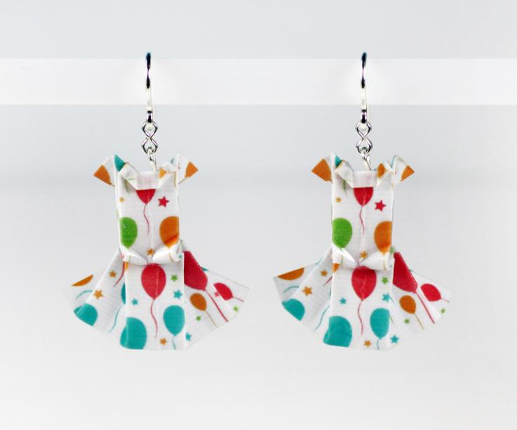Original origami and silver dress earrings