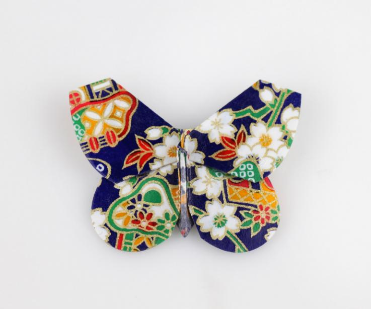 Origami butterfly clasp, front view