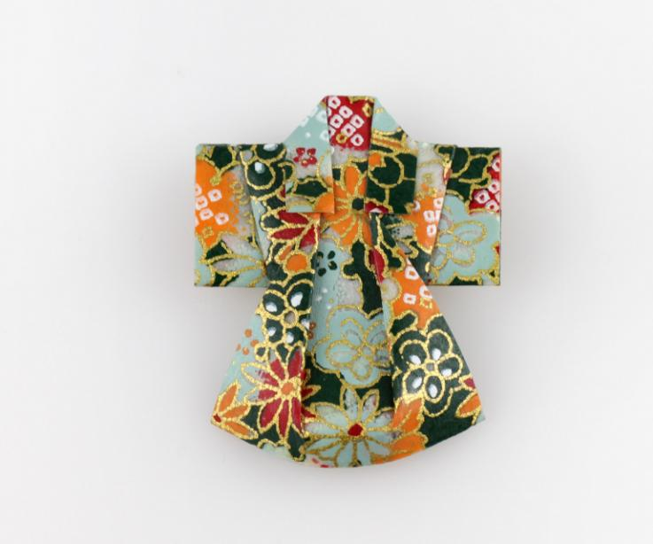 Origami kimono pin for women, front view
