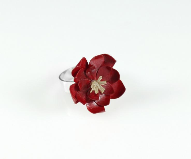 Adjustable sterling silver ring crowned by a red water lily
