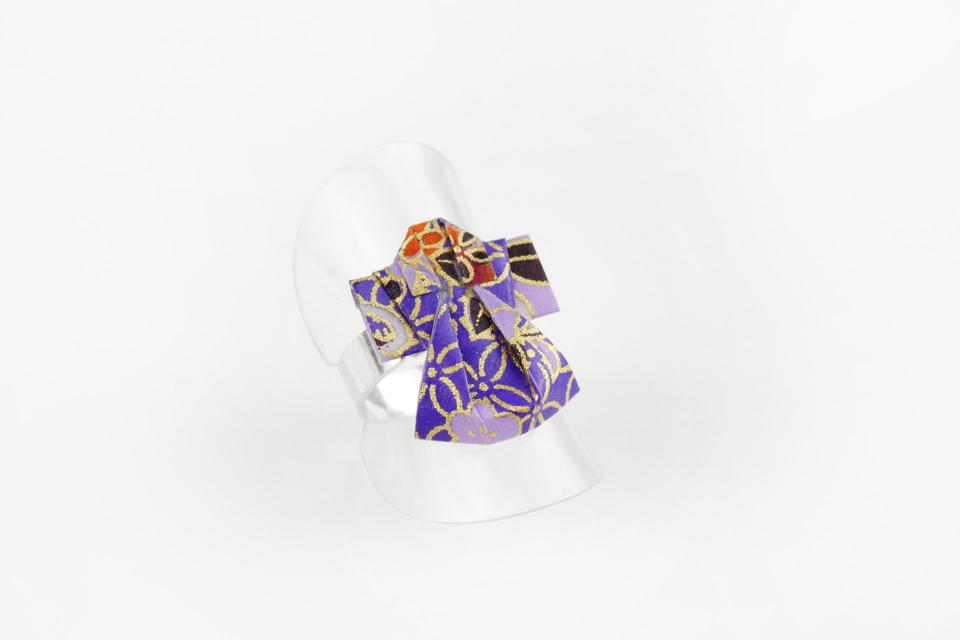 Silver ring with origami kimono, front view