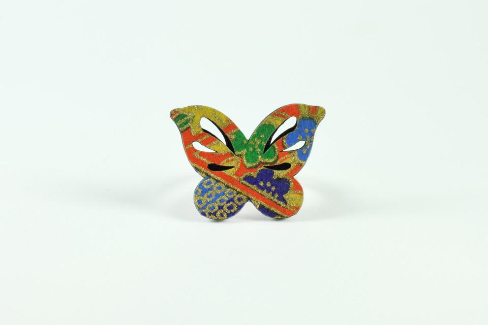 Butterfly shape silver ring, front view