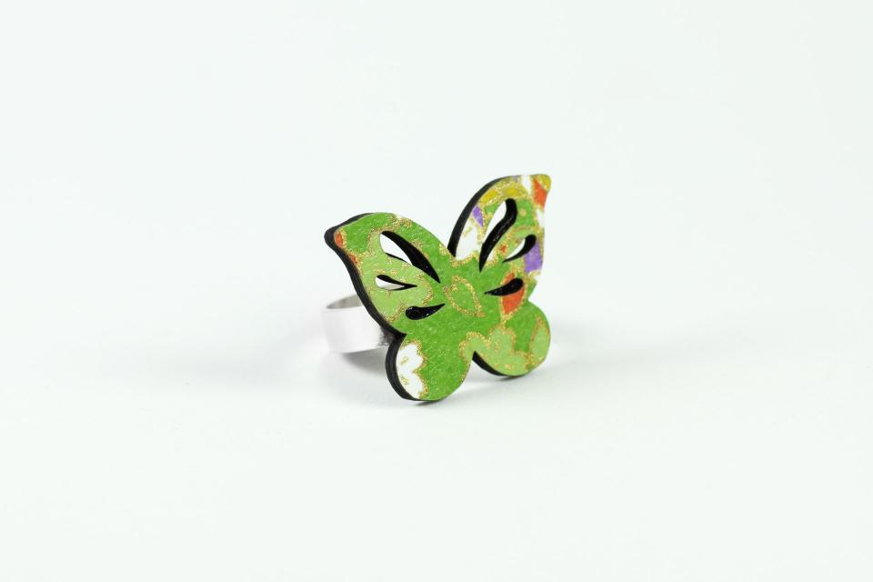 Green Japanese paper and silver butterfly ring