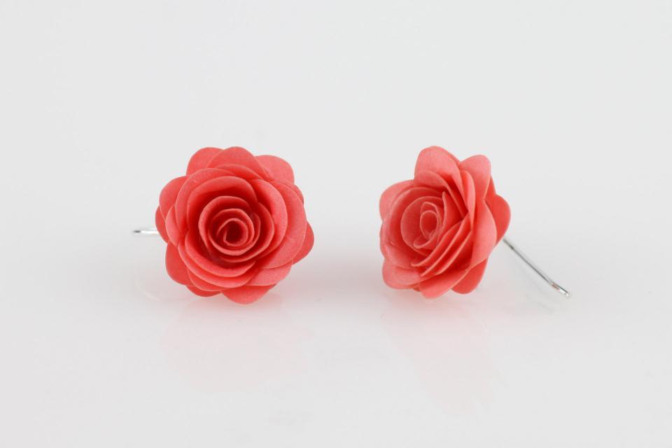 Rose earrings, handmade Spanish costume jewellery on paper