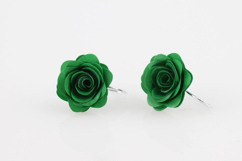 Handmade rose-shaped earrings in different colours