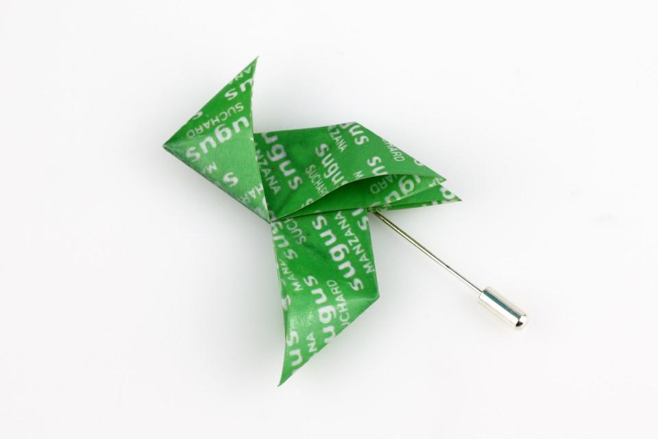 Needle brooch with Sugus candy paper origami bird