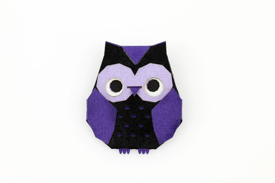 Purple origami owl brooch