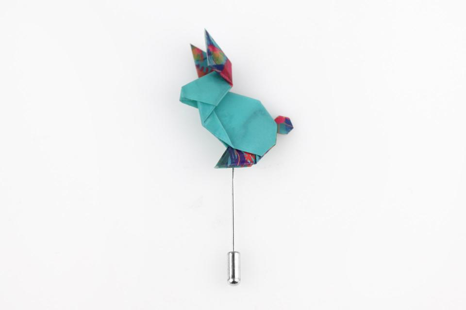 Origami blue rabbit shaped brooch