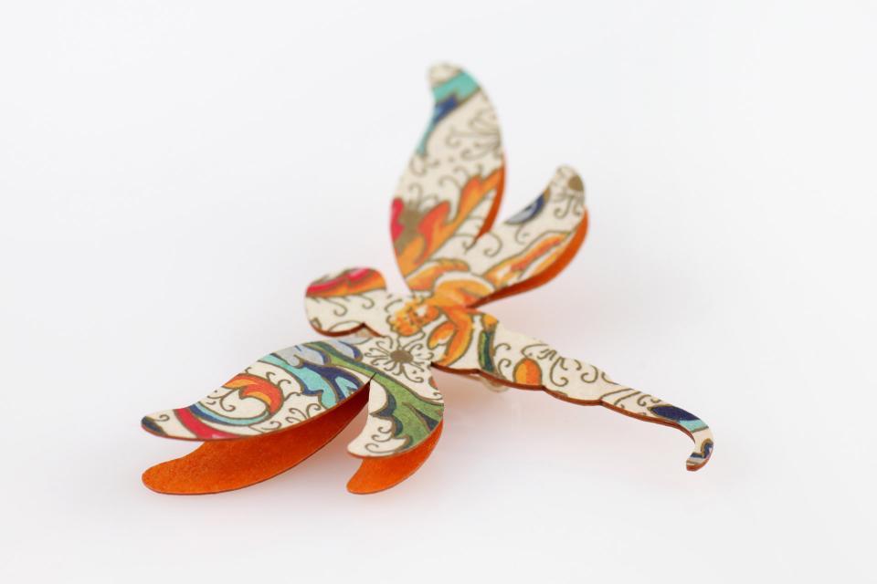 Modern orange printed dragonfly brooch