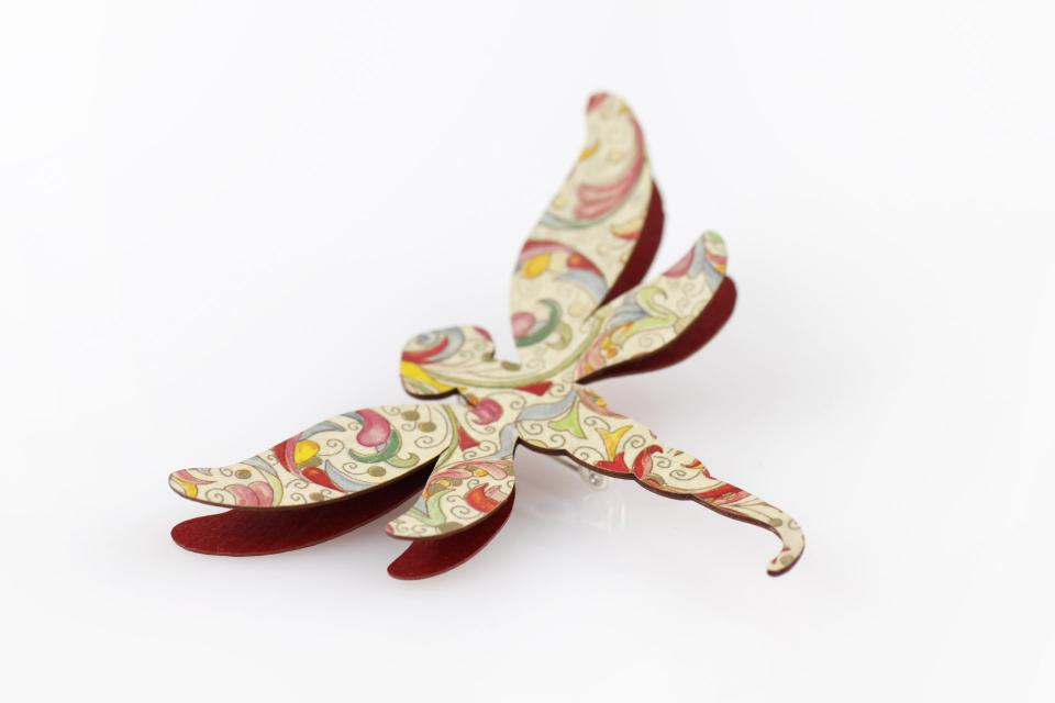 Dragonfly brooch with paper, accessory for women