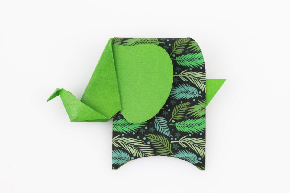 Elephant shaped brooch in green