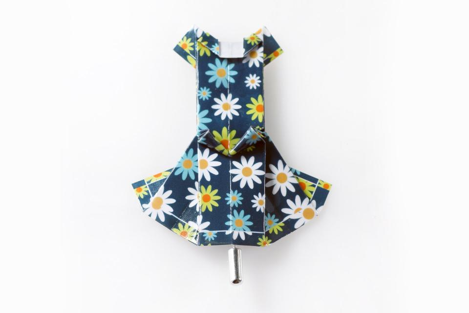 Dress shaped brooch made of paper in blue with flowers