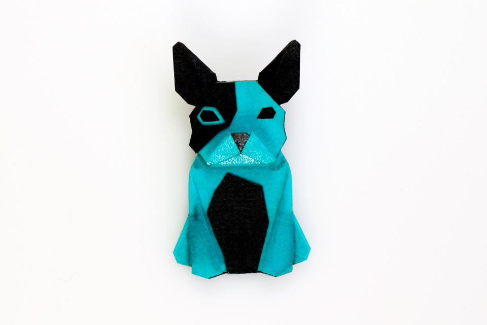 Dog shaped brooch in blue