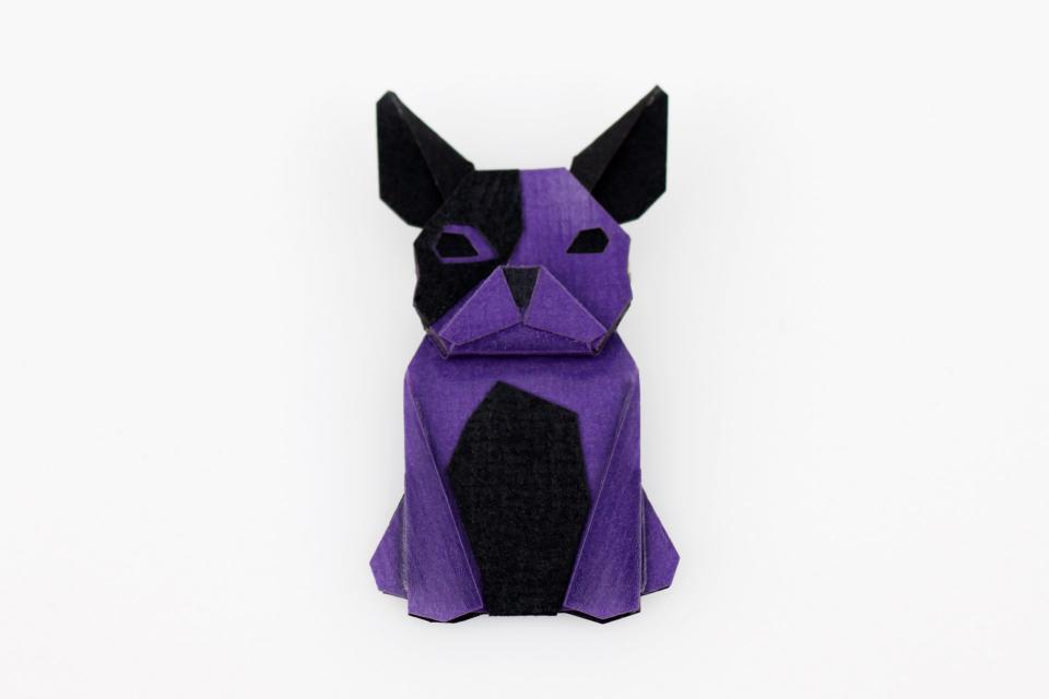 Purple dog shaped brooch
