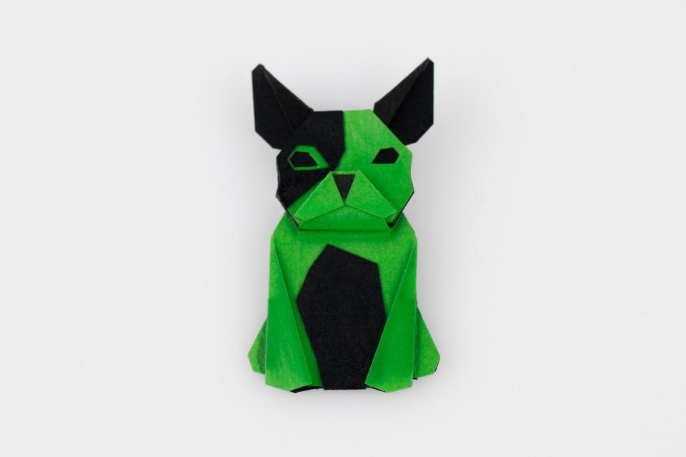 Dog shaped brooch in green