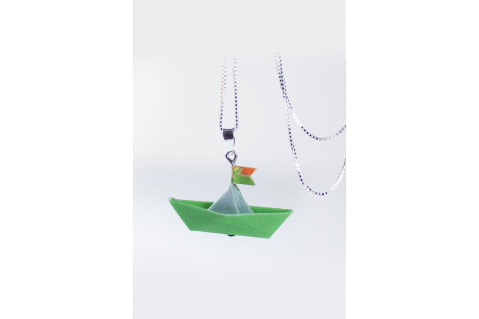 Origami boat pendant made of paper and sterling silver