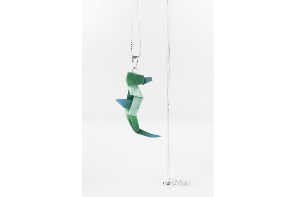 Origami seahorse pendant in green color