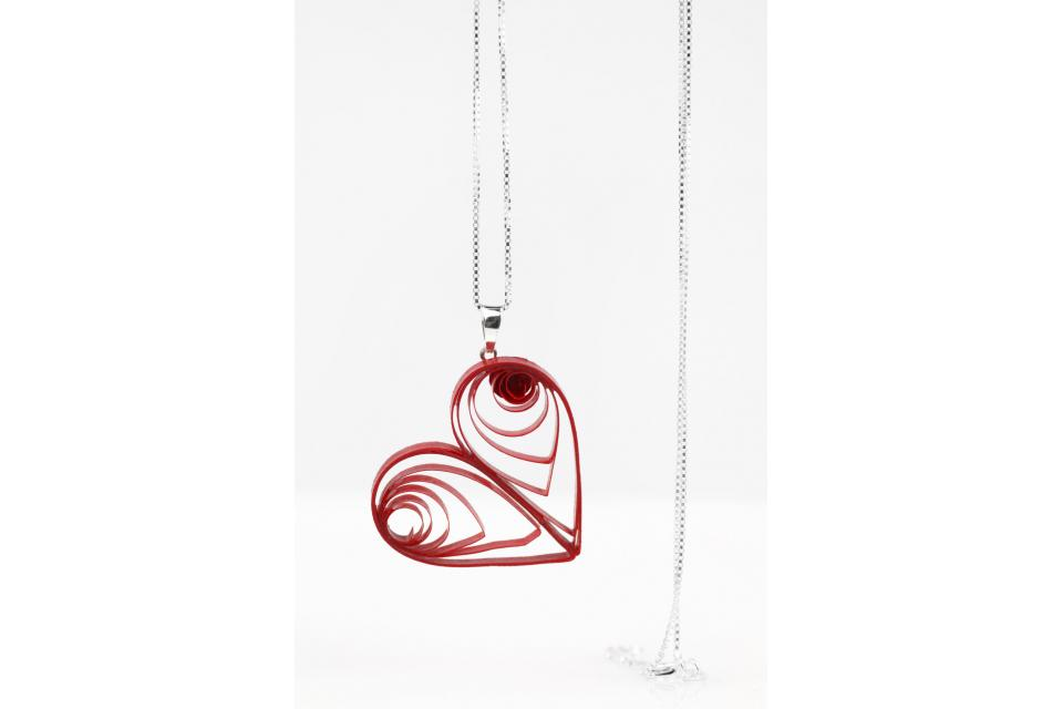 Heart pendant with sterling silver chain, front view