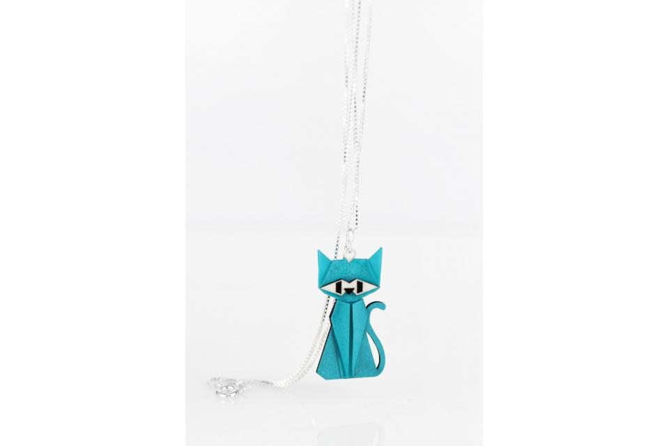 Pendant with silver chain and blue origami cat