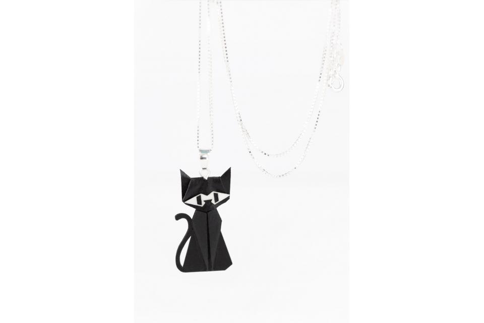 Pendant with silver chain and black origami cat