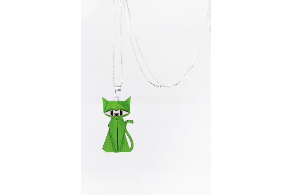 Pendant with silver chain and green origami cat