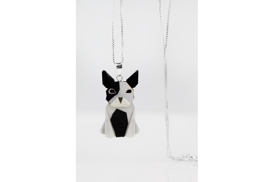 Pendant with silver chain and black and white origami dog