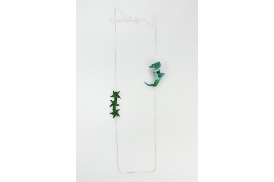 Seahorse necklace in green
