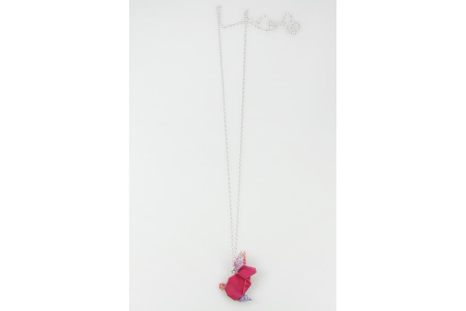 Silver and pink origami rabbit necklace