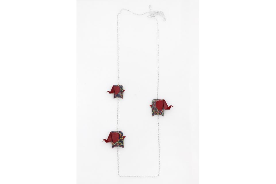 Silver necklace with red origami elephants