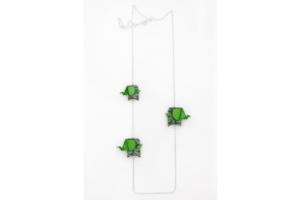 Silver necklace with green origami elephants