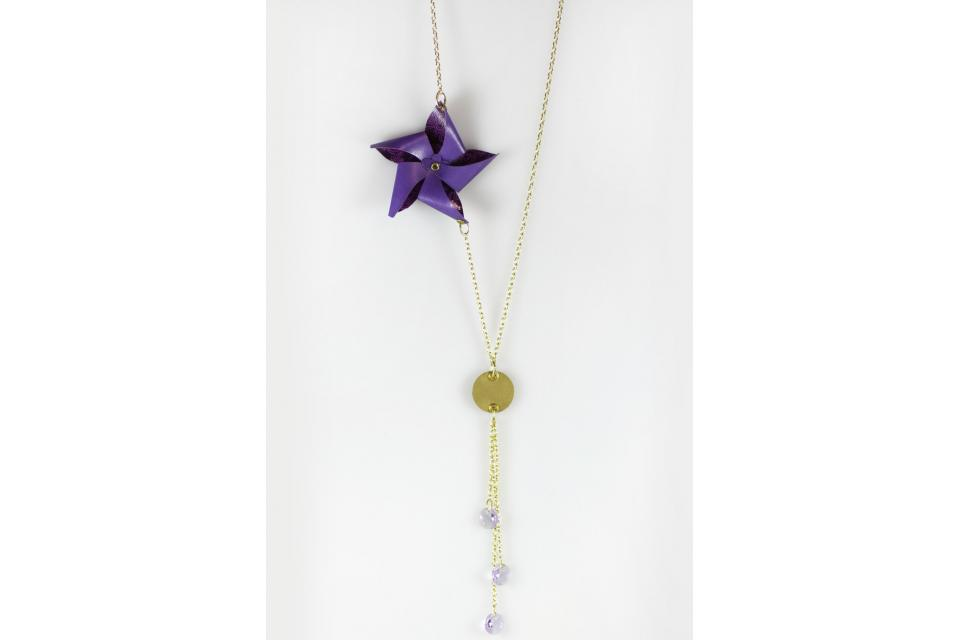 Long necklace with paper pinwheel, front view