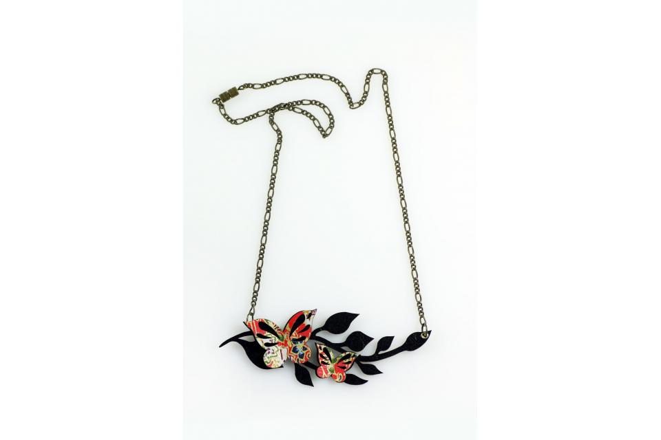 Red necklace with butterflies, large and short, front view