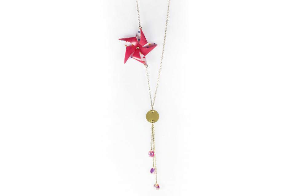 Original necklace with pinwheel, gold chain and Swarovski crystals, front view