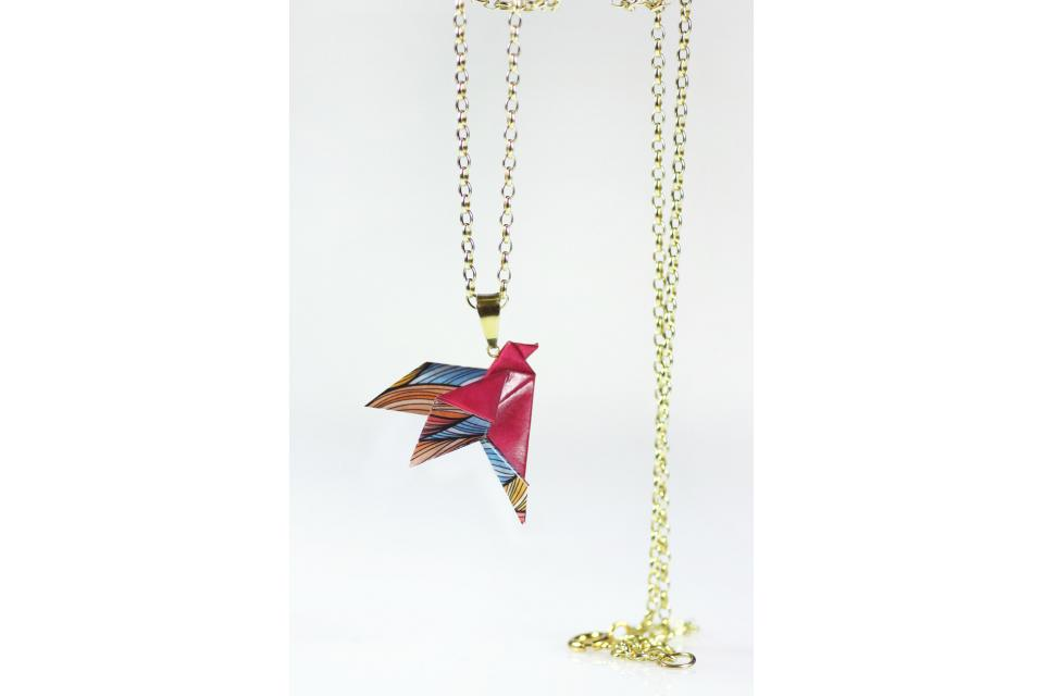 Paper bird pendant for girl, front view