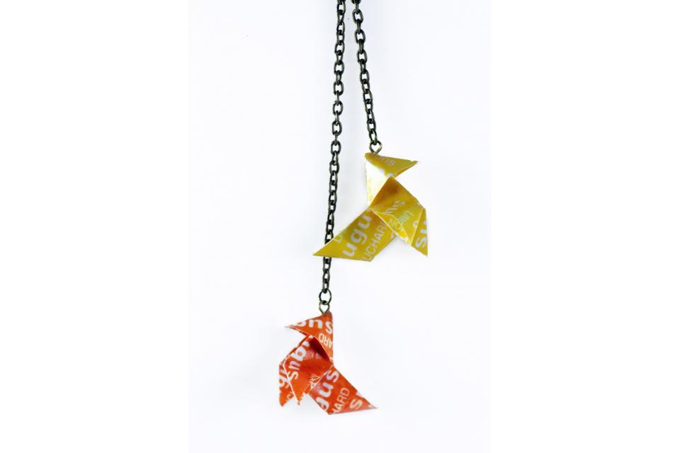 Long handmade necklace with Sugus origami birds, front view